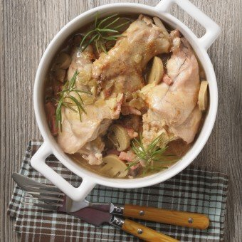 Rabbit with mushrooms in a white wine sauce