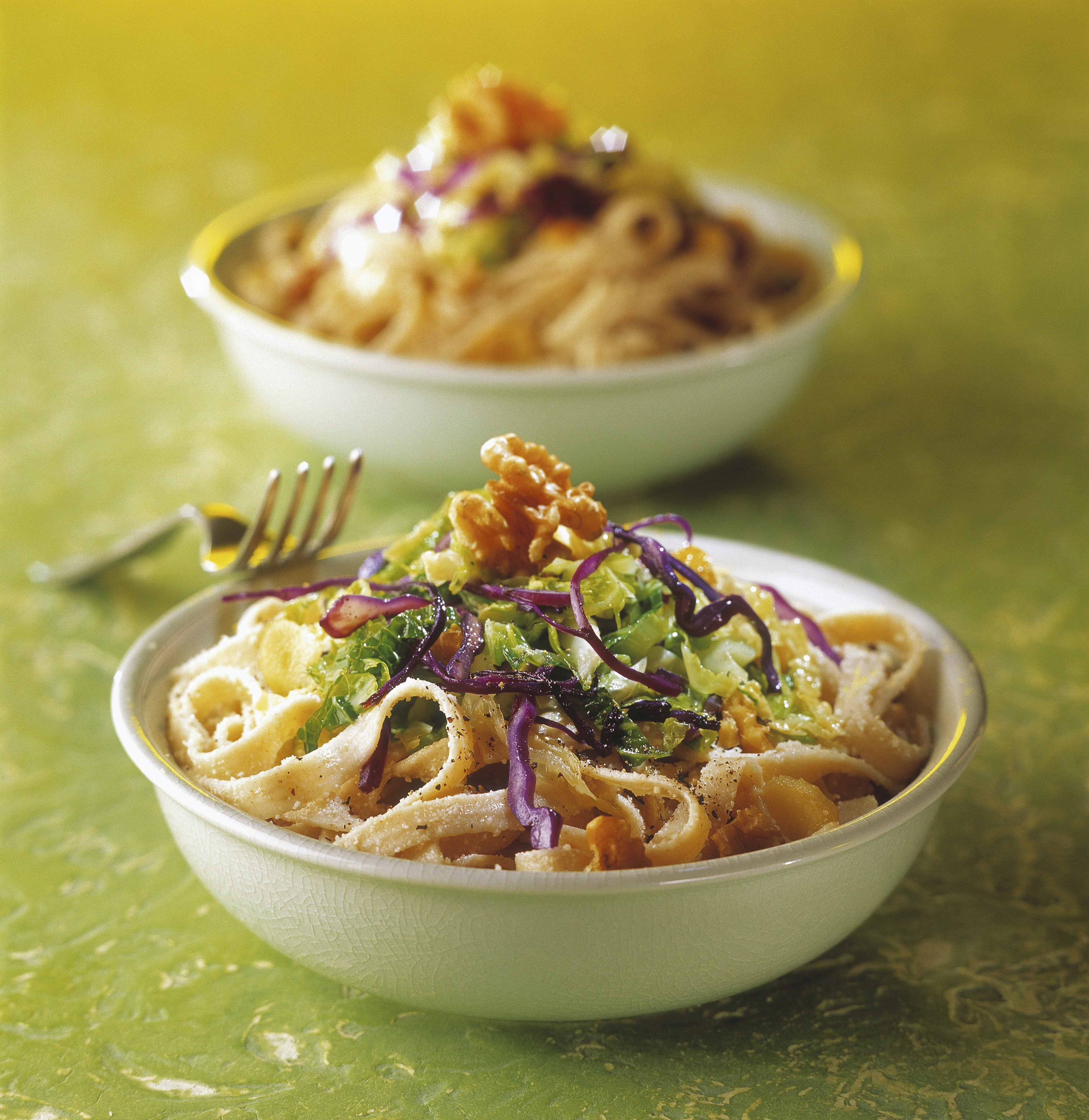Tagliatelle with vegetables and walnuts