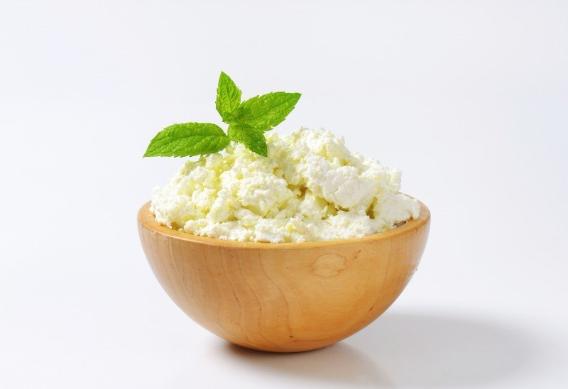 Bowl of white curd cheese