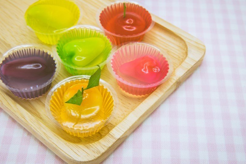 Fruit-shape desserts made of mung-bean flour in colorful gelatin
