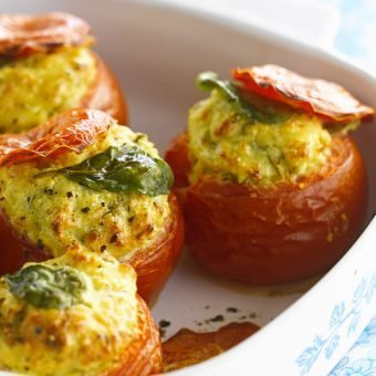 Tomatoes stuffed with goat's cheese and basil
