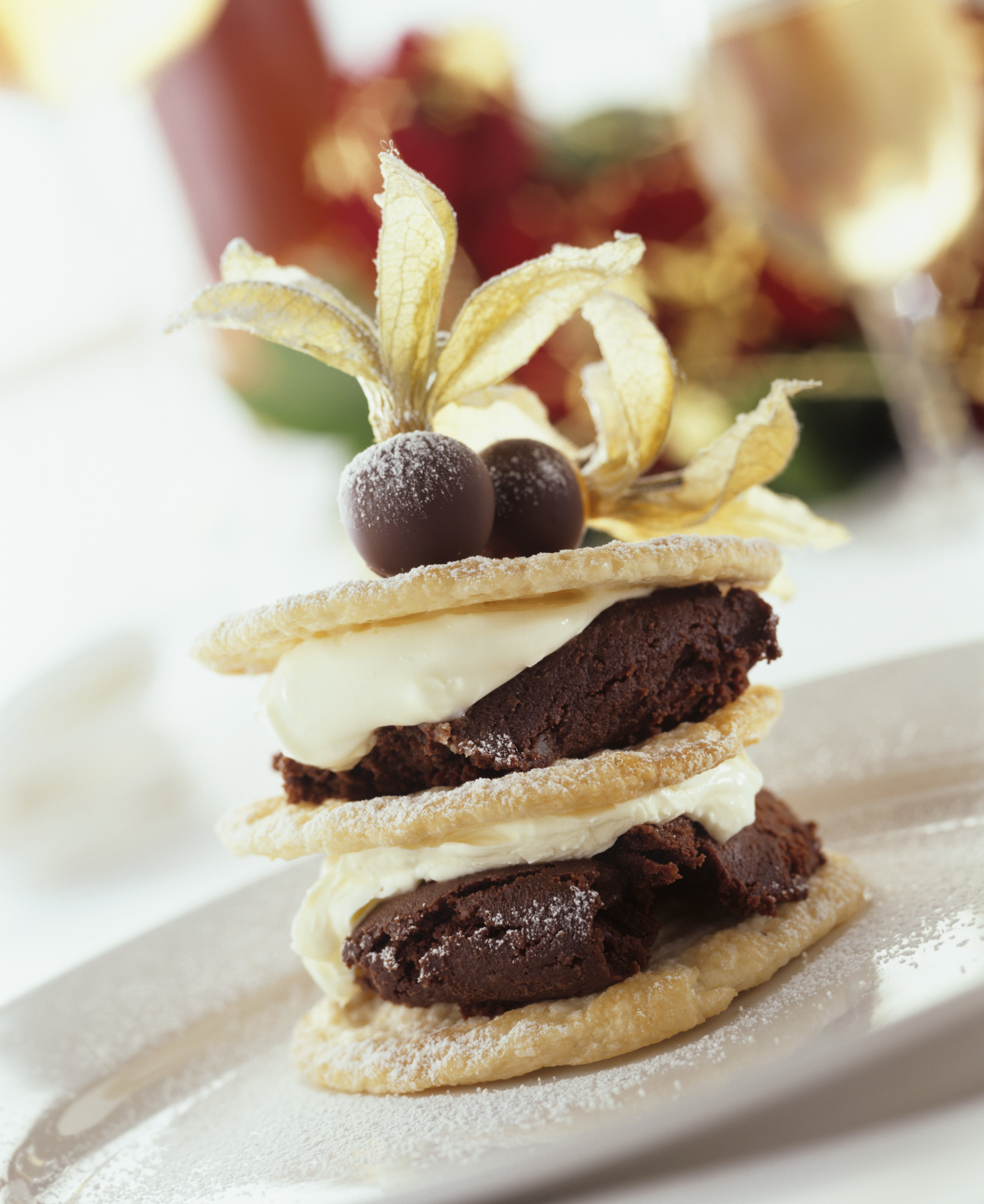 Puff pastry tower with mascarpone & chocolate filing